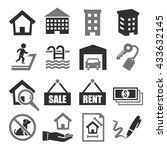 real estate  chattel icon set   Shutterstock .eps vector #433632145