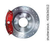 brake disk with perforation and ... | Shutterstock . vector #433636312