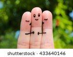 finger art. two women kissing a ... | Shutterstock . vector #433640146