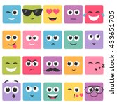 emotional square colorful faces ... | Shutterstock .eps vector #433651705