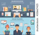 two horizontal online education ... | Shutterstock .eps vector #433667425