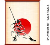 samurai with katana in fighting ... | Shutterstock .eps vector #433678216