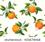 seamless pattern with orange... | Shutterstock .eps vector #433678468