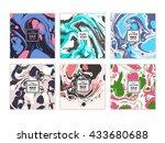 vector set of watercolor hand... | Shutterstock .eps vector #433680688