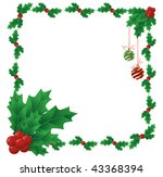 a border of holly and berries... | Shutterstock .eps vector #43368394