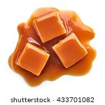 caramel candies and sweet sauce ... | Shutterstock . vector #433701082