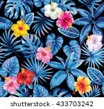 tropical seamless pattern with... | Shutterstock .eps vector #433703242