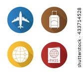 air travel flat design long...