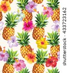 hawaiian seamless pattern with... | Shutterstock .eps vector #433723162