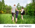 nature loving family makes walk ... | Shutterstock . vector #433740022