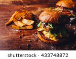 double hamburgers with grilled... | Shutterstock . vector #433748872