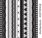 black and white ethnic patterns.... | Shutterstock . vector #433749418
