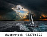 Sailboat In The Storm Sea.yacht ...