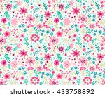 cute pattern in small flower.... | Shutterstock .eps vector #433758892