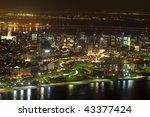 Night views of Rio De Janeiro Brazil from Sugar Loaf Mountain - stock photo