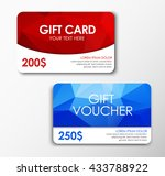 template red gift card  blue ... | Shutterstock .eps vector #433788922