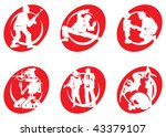 cinema silhouettes icons in the ... | Shutterstock . vector #43379107