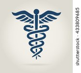 caduceus medical symbol in dark ... | Shutterstock .eps vector #433809685