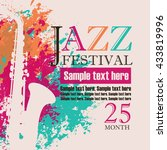banner with an saxophone on... | Shutterstock .eps vector #433819996