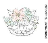 funny cat in a flower wreath.... | Shutterstock .eps vector #433820302