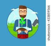 man holding in hands plastic... | Shutterstock .eps vector #433859566