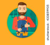 a hipster repairman with a... | Shutterstock .eps vector #433859935
