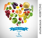 heart of fruits and vegetables... | Shutterstock . vector #433871542
