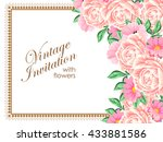 invitation with floral... | Shutterstock . vector #433881586
