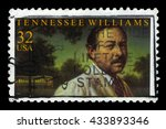 Small photo of USA - CIRCA 1995: A stamp printed in USA shows Tennessee Williams, american playwright , circa 1995