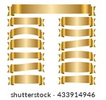 ribbon gold banners set. sign... | Shutterstock .eps vector #433914946