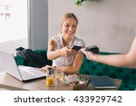woman paying contactless with... | Shutterstock . vector #433929742