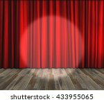 lighting on stage. red curtain... | Shutterstock . vector #433955065