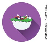 salad in plate icon. flat...
