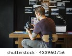photographer working checking... | Shutterstock . vector #433960756