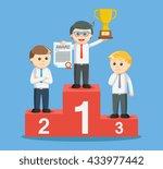 entrepreneur get a trophy on... | Shutterstock . vector #433977442