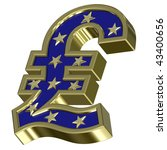 Gold-blue Pound sign with stars isolated on white. Computer generated 3D photo rendering. - stock photo