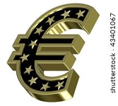 Gold-black Euro sign with stars isolated on white. Computer generated 3D photo rendering. - stock photo