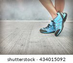 colorful shoes on cement floor  ... | Shutterstock . vector #434015092