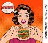 young woman eating hamburger.... | Shutterstock .eps vector #434017792