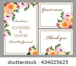 invitation with floral... | Shutterstock . vector #434025625
