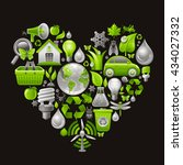 ecological icon set in green... | Shutterstock .eps vector #434027332