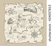 treasure island  map kids... | Shutterstock . vector #434057815