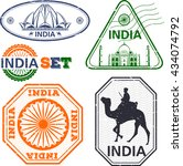 india stamps set. simple... | Shutterstock .eps vector #434074792