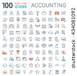set vector line icons in flat... | Shutterstock .eps vector #434081092