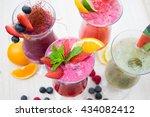 fresh summer smoothie drinks | Shutterstock . vector #434082412
