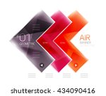 color glossy glass arrow banner.... | Shutterstock .eps vector #434090416