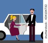 good manners. open the door for ... | Shutterstock .eps vector #434104732