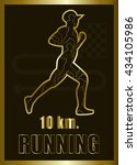 gold flat running triathlon.... | Shutterstock .eps vector #434105986
