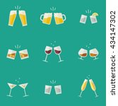 clink glasses flat icons.... | Shutterstock .eps vector #434147302