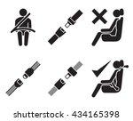 seat belt icons  set of... | Shutterstock .eps vector #434165398